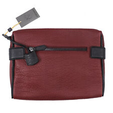 Canali Burgundy Textured Grained Leather Laptop Travel Case NWT $875 Bag