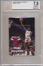 1985-86 Chicago Bulls Pocket Schedule Jordan First Schedule Cover BGS 7.5 #1401