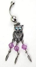 Owl Bird Feather Dream Catcher Belly Navel Bar Ring Dangle Charm Floral Cute New