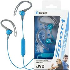 JVC HAEC20BT BLUE Sport Wireless Bluetooth In-Ear Headphones Ear Clip /Brand New