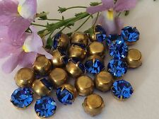 Vintage Rhinestones brass set Sapphire 8.4mm 39ss CRAFT Pack of 8 Post Free