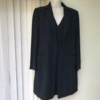 Women's Italian Design Sahza Black Wool Blend Short Dress & Coat Suit Lined UK10