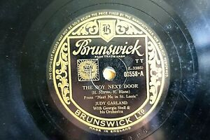 Clásico Judy Garland 78 The Boy Next Door / The Carrito Canción Brunswick 03558E
