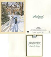 VINTAGE CHRISTMAS WINTER SNOW CHILD SQUIRREL COLONIAL BRICK STONE HOUSE ART CARD