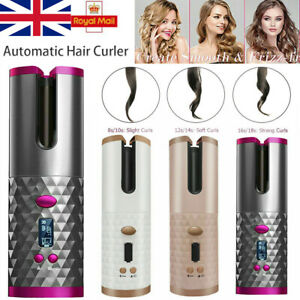 Cordless Auto Rotating Hair Curler Waver Curling Iron Wireless LCD Ceramic Tong