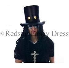 80's SLASH CAPPELLO & Parrucca Capelli HEAVY METAL FANCY DRESS GUNS N ROSES CAPPELLO