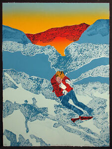"""Ted Thomas """"Winter Solitude"""" Hand Signed Limited Edition Artwork Etching, Skiing"""