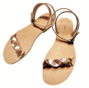 Greek Handmade Sandals Ancient Style Women Leather Slide Shoes Flat Lace Up Size