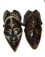 "12"" - 13"" African Wood Mask: Black"