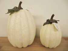 NEW Seasons Fall Decorative Styrofoam Glittered White Halloween Pumpkins Set 2