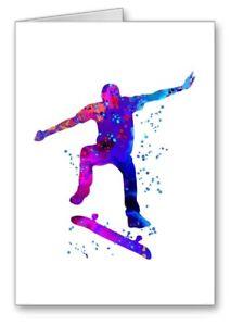 Skate Boarding Skateboarding Card Blank Notelet Birthday ? Watercolour 3