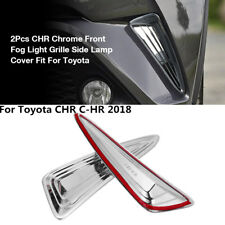 2Pcs Chrome Front Fog Light Grille Side Lamp Cover Trim For Toyota CHR C-HR 2018
