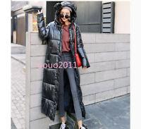 Women Shiny Thicken Long Down Coat Hooded Winter WARM Puffer Parka Padded Jacket