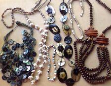 Vtg Lot 6 Pieces Summer Beach Island Jewelry Various Shells MOP Exotic Woods