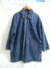 Ruff Hewn Mens Plaid Flannel Lined Long Blue Jean Jacket Size L