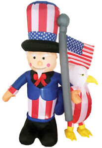 Home Holiday INFLATABLE AIRBLOWN UNCLE SAM & EAGLE 6 FT LED Light Up Yard Décor