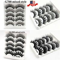 5Pairs Multipack Mink False Eyelashes Wispy Fluffy Long Natural Eye Lashes US JC