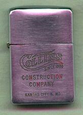 1951-1952 Zippo Advertising Lighter for Collins Construction Co, Kansas City, MO