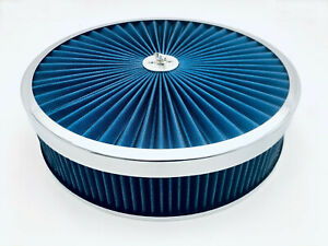 """Air Cleaner Set 14"""" x 3"""" Super Flow Washable Blue Extraflow Holley Edelbrock AED"""