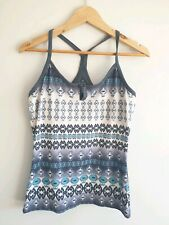 prAna Womens Size M Built In Bra Grey Fitted Razor Back Work Out Tank
