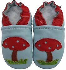 carozoo soft leather toddler shoes mushroom light blue 2-3y