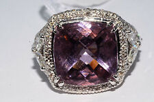 $27,800 12.31Ct Natural Morganite & Diamond Ring Gorgeous Color 18K White Gold