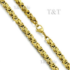 T&T 5mm 18k Gold GP Stainless Steel Square Chain Necklace (C86)