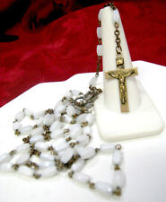 BEAUTIFUL WHITE BEAD ROSARY NECKLACE INRI CROSS WITH ST MARY MEDAL