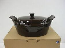 Longaberger Medium Oval Casserole + Lid Chocolate Brown NIB Vitrified Pottery