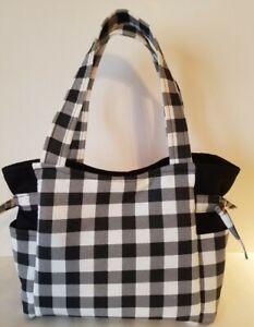 Black & White Buffalo Plaid Handmade Purse/ Tote/Handbag