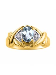 Diamond & Aquamarine Ring Set In 14K Yellow Gold - XO Hugs & Kisses - Color Ston