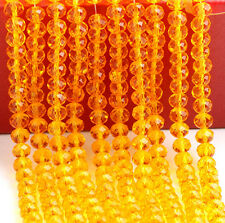 diy 100 (±3) PCS , 4 X 6 mm Oragne Crystal Faceted Gemstone Abacus Loose Beads