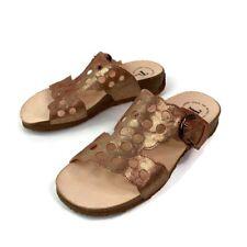 Think Womens Mizzi T-Strap Sandals Bronze Cutout Buckle Slip Ons 7-7.5 EU 38 New