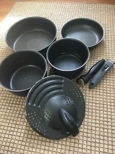 T-FAL ingEnio 7 Piece Set Handles Pots FRYING Sauce PAN Black Used