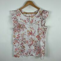 Francesca Bettini Italy Womens Linen Top Medium Floral Short Sleeve Round Neck