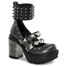 Demonia Sinister 62 Zapatos señoras Goth picos de tobillo Plataforma Taco Abs Cromado