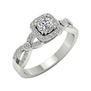 Designer Solitaire Halo Ring SI1 G 1.00Carat Round Diamond 14K White Gold 8.10MM