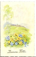 Carte postale - Paysage, village - bouquet de fleurs - Bonne fête