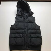 Gap Womens Sz Small Black Puffer Down Fill Vest Removable Hood