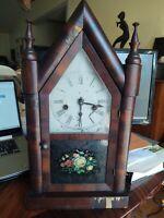 Antique Steeple William Gilbert Clock TESTED w/Key and Pendulum