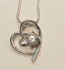 """Gorgeous Sterling  Silver Heart   Necklace  with 18"""" Chain"""