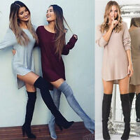 Fashion Women Long Sleeve Dress Sexy O-Neck Loose Blouse Casual Short Mini Dress