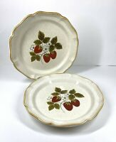 "Mikasa Strawberry Festival Set of 2 Dinner Plate 10.5"" EB 801 Japan Garden Club"