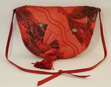 VINTAGE CARLO FIORI ITALY 80's Red Snakeskin Reptile Leather Purse Shoulder Bag