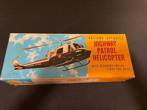 Vintage Rare Highway Patrol Helicopter Batter Operated T.N. Made In Japan
