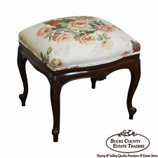 French Louis Xv Style Solid Mahogany Floral Upholstered Ottoman Foot Stool