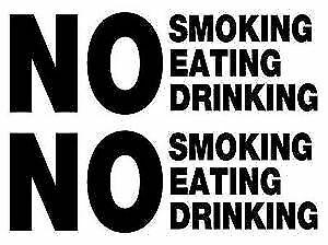 3 x No smoking eating drinking taxi window van vinyl sign decal sticker