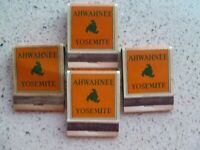 Vintage Matchbooks:  Lot of 4:  THE AHWAHNEE:  Front Strike:  Full:  Yosemite