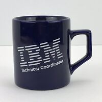 "IBM Glass Cobalt Blue Coffee Mug Vintage Computers - ""Technical Coordinator"""