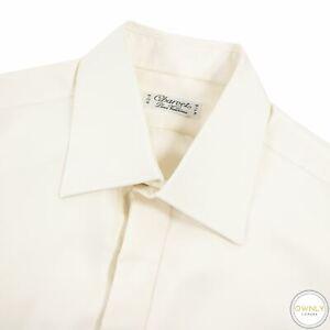 Charvet Tan 100% Silk Glossy French C. Spread Collar Dress Shirt 16.5US